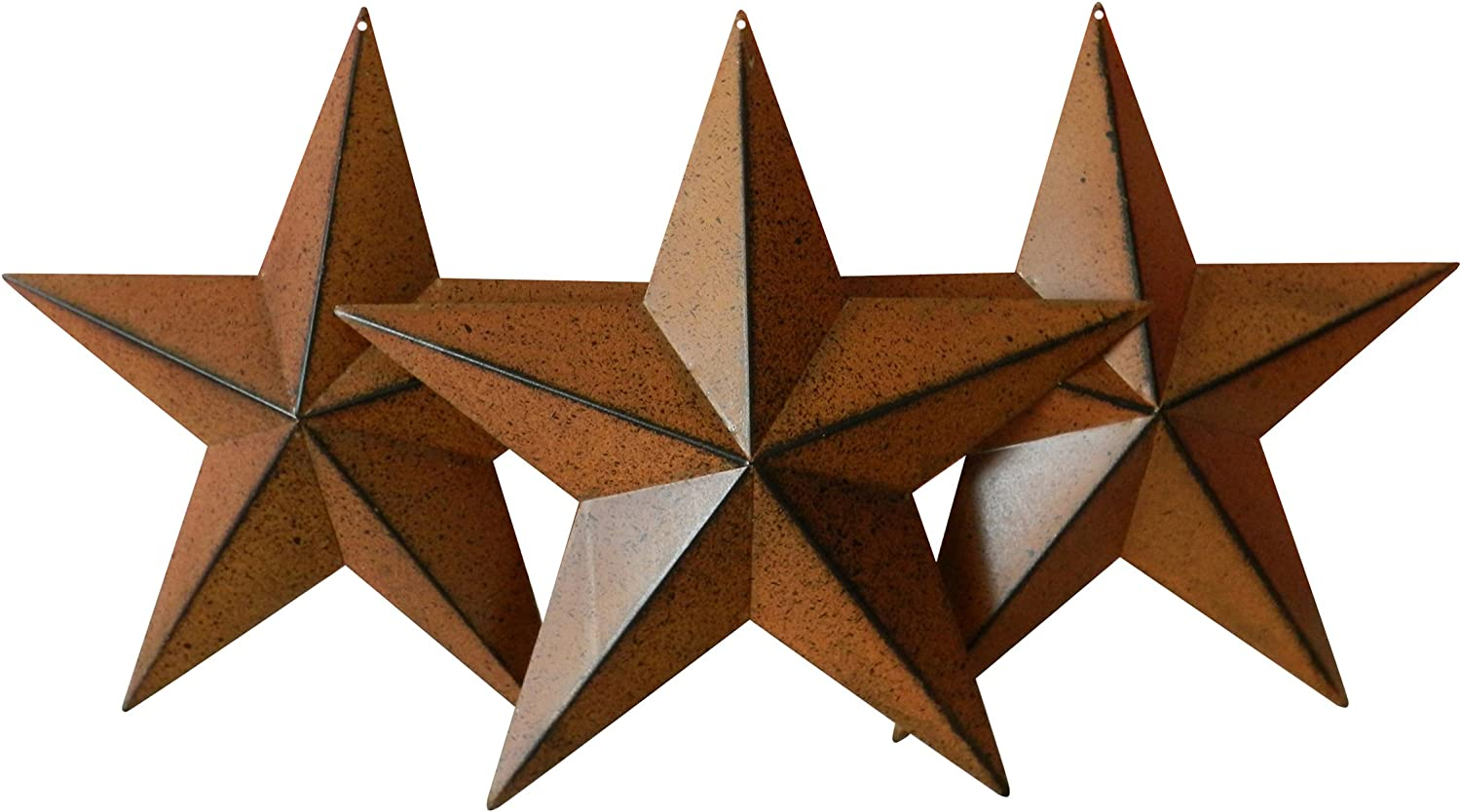 CVHOMEDECO Burgundy Set of 3. Country Rustic Antique Vintage Gifts Metal Barn Star Wall//Door Decor 12-Inch