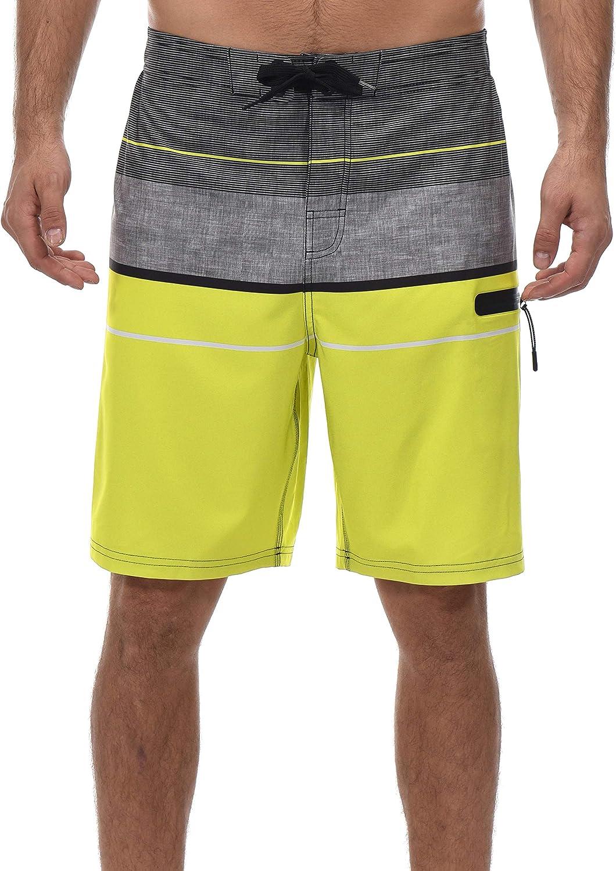 Little Donkey Men's Stretch Board Shorts, Swim Trunks, Beach Shorts, UPF 50+ UV Protection, Quick Dry