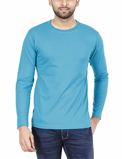 f26aecb9d FLEXIMAA Men's Cotton Plain Round Neck Full Sleeve T-Shirt Shade Green  Color.: Amazon.in: Clothing & Accessories