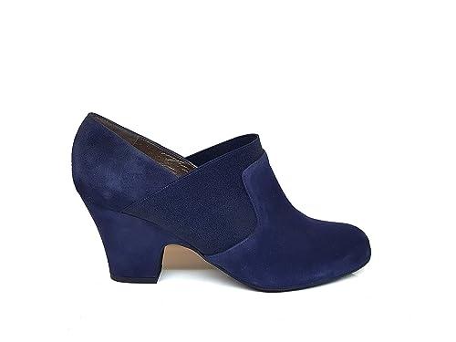 Gennia Blanca - Botines Chelsea de Piel para Mujer + Tacon Louis XVI 6 cm + Punta Redonda Cerrada: Amazon.es: Zapatos y complementos