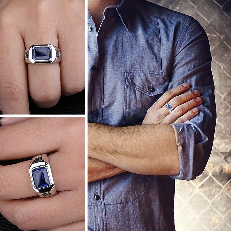 JewelryPalace Anillo hombre con Zafiro cuadrado en plata de ley 925 Tamaño 17: Amazon.es: Joyería