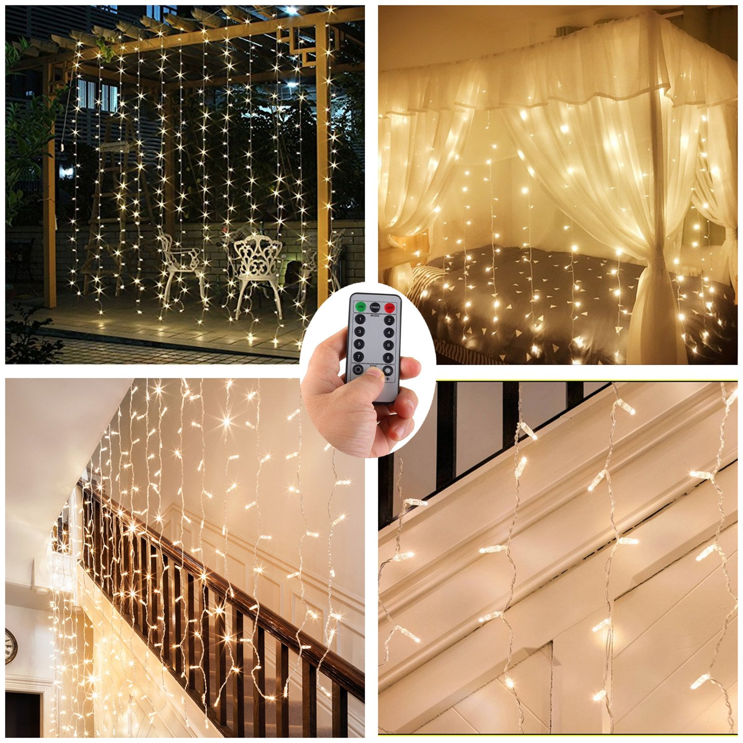 DealBeta [2 in 1] Battery/USB Operated Curtain Window Lights for Wedding Outdoor,9.8 ft ×9.8 ft 300 LED Twinkle Icicle Background String Lights - Warm White