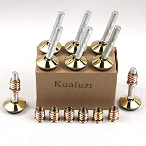 Furniture Legs Adjustable Height Angled Leveler Furniture Chair Leveling feet M10 Screw with nut Set of 8(1.3 inch, Gold and Black)