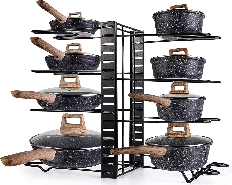 8 Metal Shelves with Anti-slip Layer Cabinet Pot Rack Organizer with 3 DIY Methods Pan Organizer Rack for Cabinet Adjustable