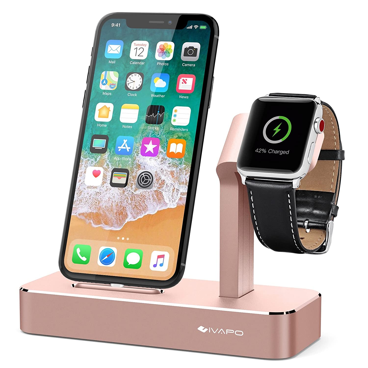 iVAPO 2 in 1 Supporto per Apple Watch Series 3 / Apple Watch Series 1 / Apple Watch Nike + Apple Watch Series 2 / iPhone X / iPhone 8 Plus / iPhone 8 / iPhone 7/ iPhone 6S Plus / iPhone SE / iPhone 5S (Rosa d'oro)