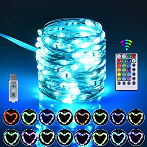 Fairy Lights, 16 Color Changing String Lights with 4 Lighting Modes, 33ft 100LED Outdoor Chiristmas Lights Plug in with Remote for Bedroom, Weddings, Party, Christmas Decor, Multiple Color