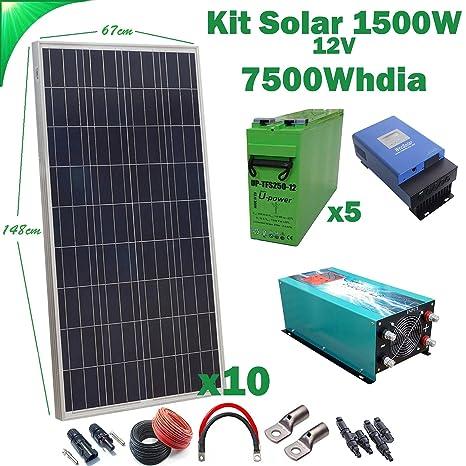 Kit Solar 12v 1500W/7500W día Regulador de carga MPPT 60A ...
