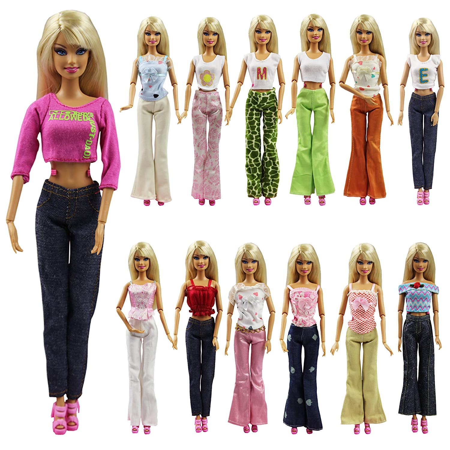 K.T. Fancy Set of 5 Quality Handmade Blouse + Trousers Pants Outfit Casual Wear for Barbie Clothes Xmas Birthday Gift Present