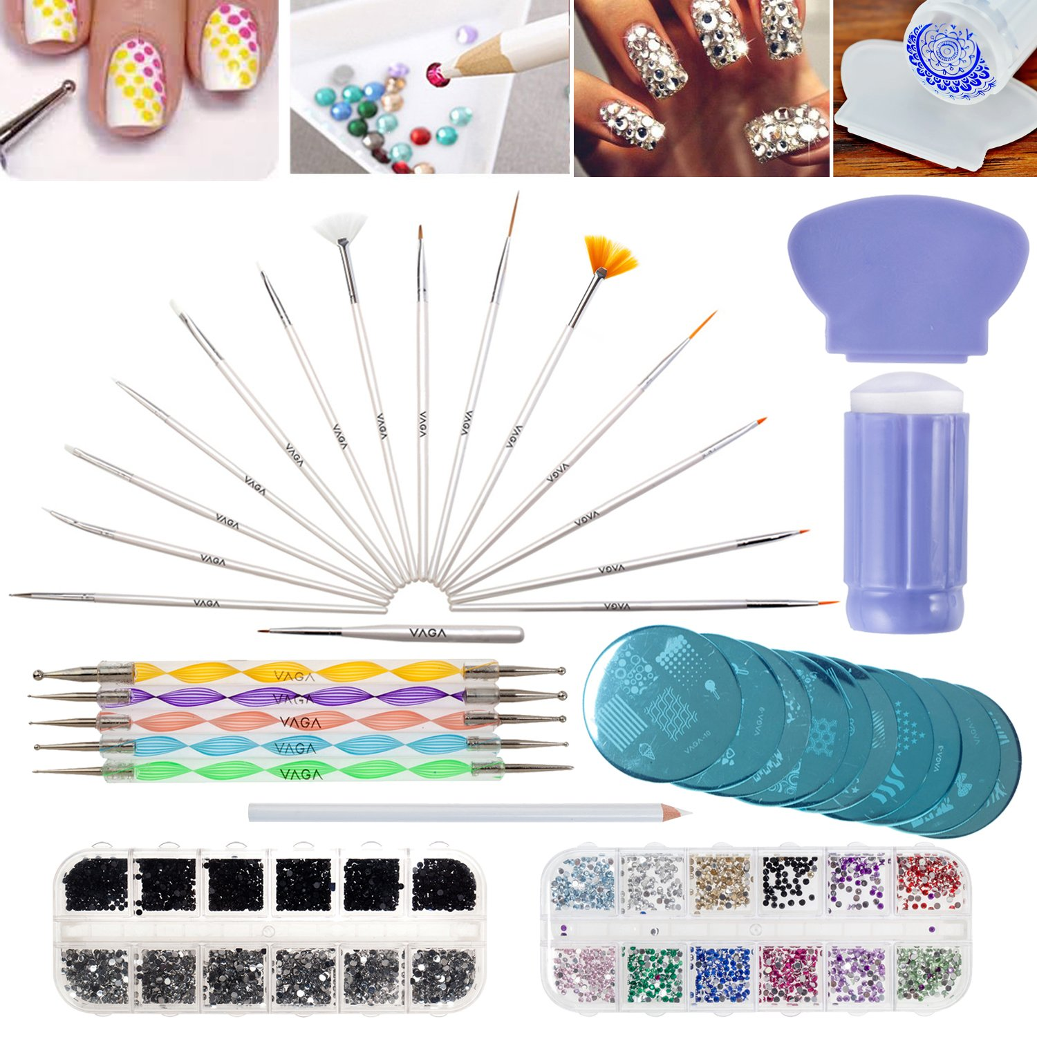 Best Deal Professional Nail Art Designs Set With Boxes of 1500 Gemstones In Different Colours And 1500 Crystals / Gems In Silver And Black Colours, Stampers / Stamps, Scrapers / Scraping Untensils, Stamping Plates / Templates, Dotting Tools, 15 Nails Brush