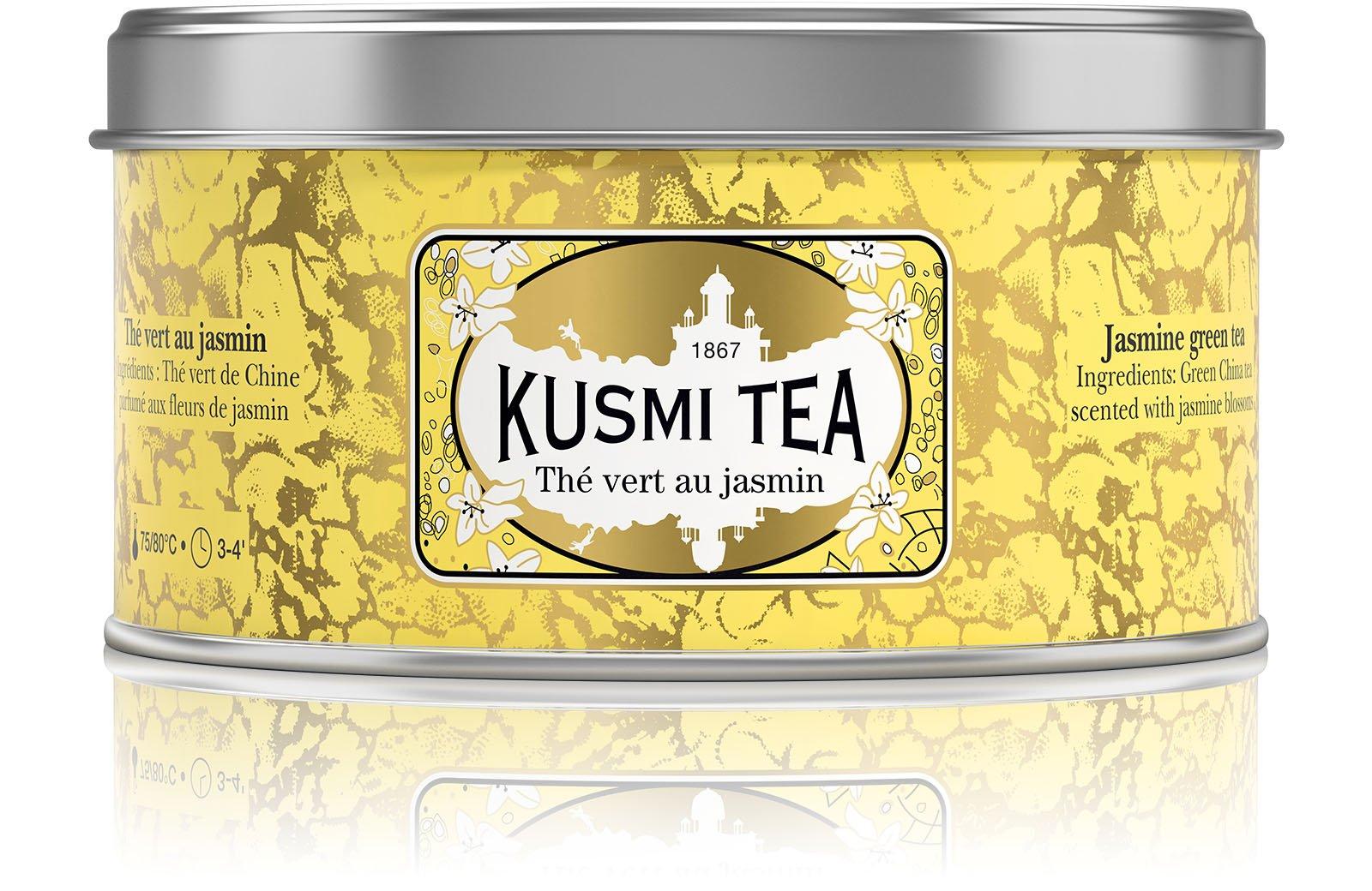 Kusmi Tea - Jasmine Green Tea - Green Tea Blend Flavored with Jasmine Blossoms - 4.4oz of All Natural, Premium Quality, Loose Leaf Jasmine Green Tea in Eco-Friendly Metal Tin (50 Servings)