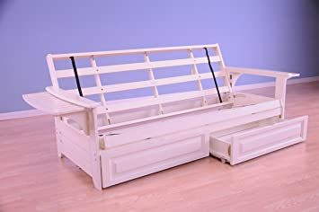 Awesome Phoenix Futon In Antique White Finish With Storage Drawer Short Links Chair Design For Home Short Linksinfo