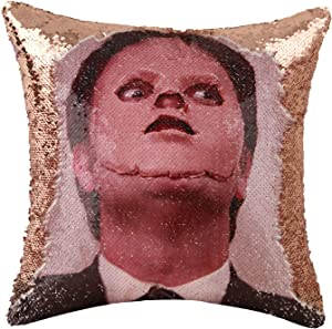 Merrycolor The Office Throw Pillow Cover Dwight Schrute Mask Sequin Pillowcase Mermaid Decorative Cushion Cover Funny Gifts 16 X 16 Inch (Champagne Gold)