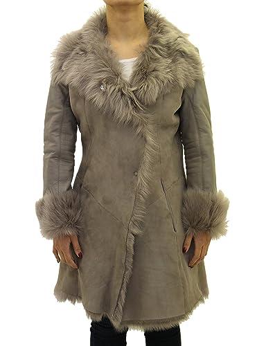 Damas gris piel de oveja grande reversible abrigo con cuello de piel y mangas de cuero