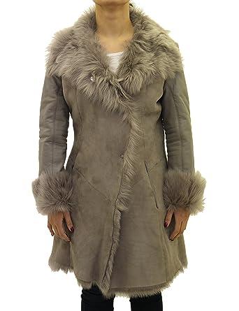 Damas Gris Piel de Oveja Grande Reversible Abrigo con Cuello de Piel y Mangas de Cuero: Amazon.es: Ropa y accesorios