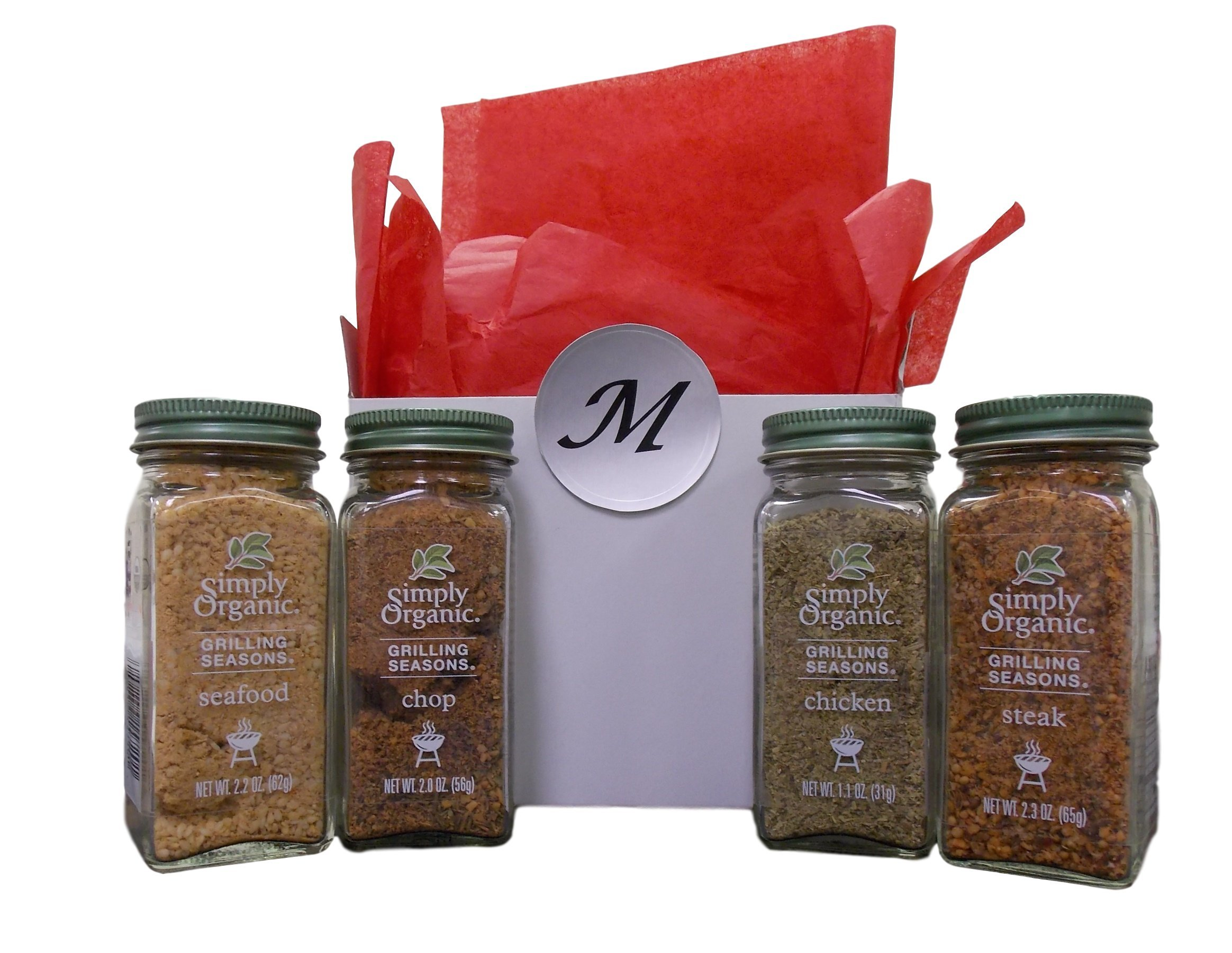 Simply Organic Grilling Seasons Meat Rub 4 Flavor Gift Box Set, (1) each: Steak, Seafood, Chop, and Chicken (1.1-2.3 Ounces)