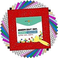 """HTVRONT Shimmer Vinyl - 12"""" x 12"""" 14 Sheets Glitter Permanent Vinyl for Cricut & 3 Pack Transfer Tape Assorted Colors…"""