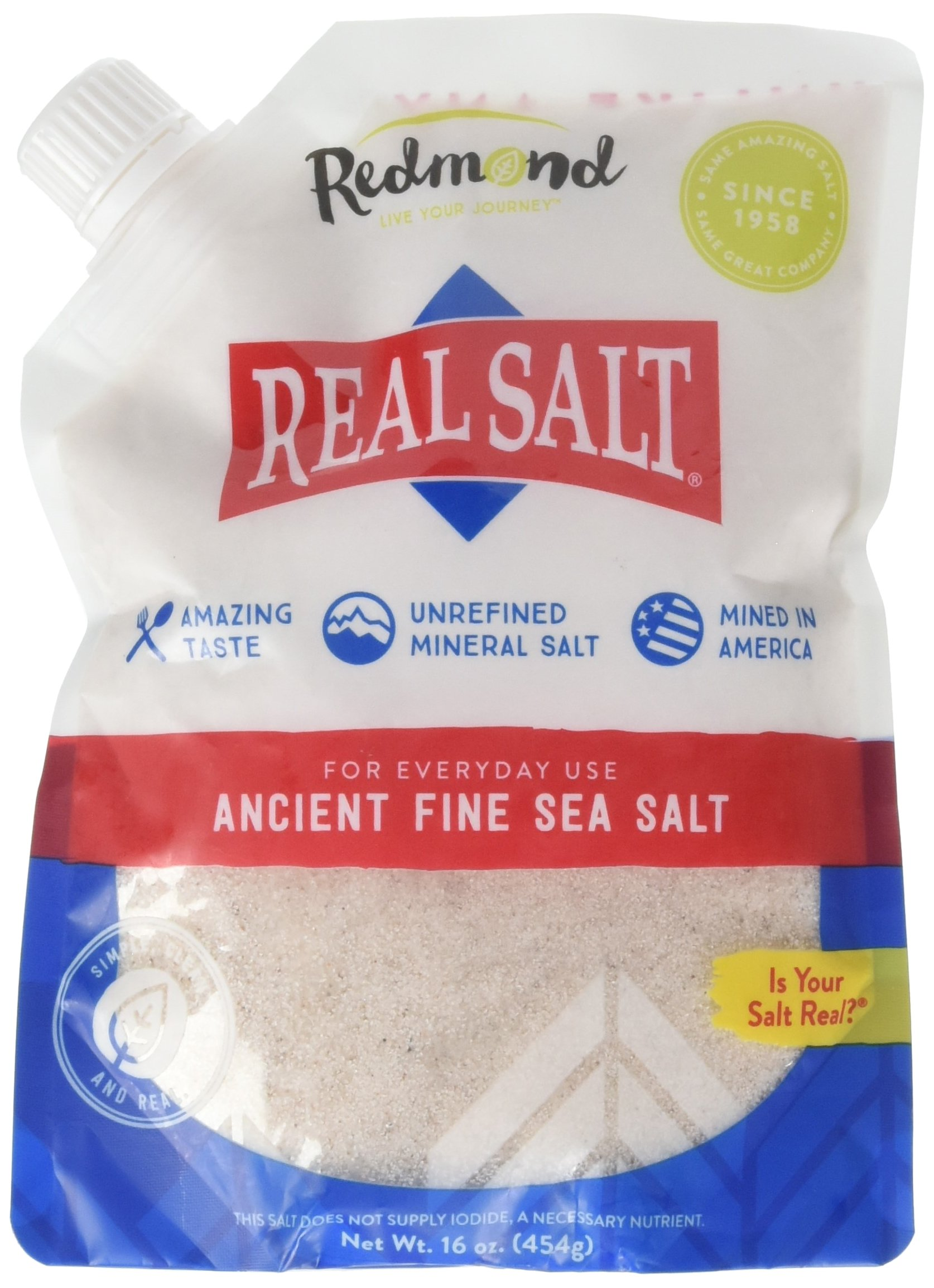 Redmond Real Salt - Ancient Fine Sea Salt, Unrefined Mineral Salt, 16 Ounce Pouch (1 Pack)