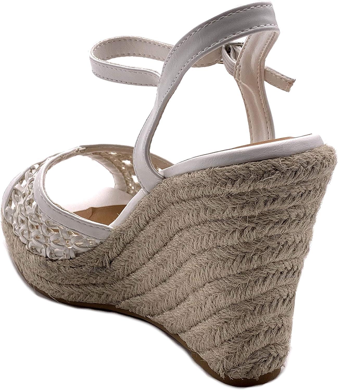 Angkorly Chaussure Mode Sandale Escarpin Hauts Talons Boh/ème Casual Femme avec de la Paille tress/é perfor/é Talon compens/é Plateforme 11 CM