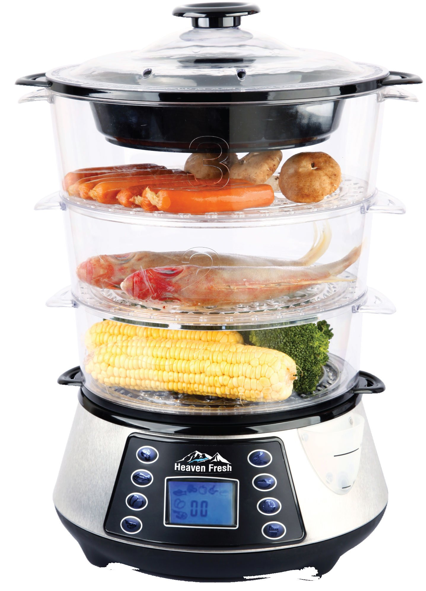 Heaven Fresh HF8333 3 Layer / Tier Stainless Steel Digital Food Steamer with Rice Cooking Bowl