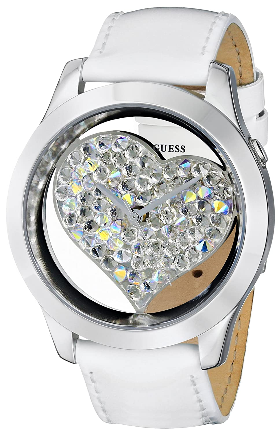 GUESS U0113L6 Women s White and Silver-Tone Clearly Inspired Heart Watch