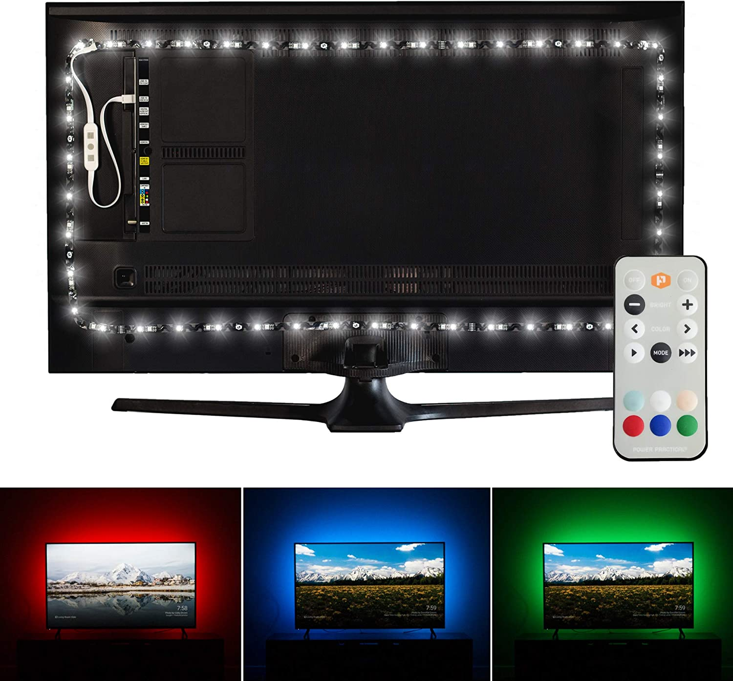 Luminoodle Professional Bias Lighting for HDTV | fits 30
