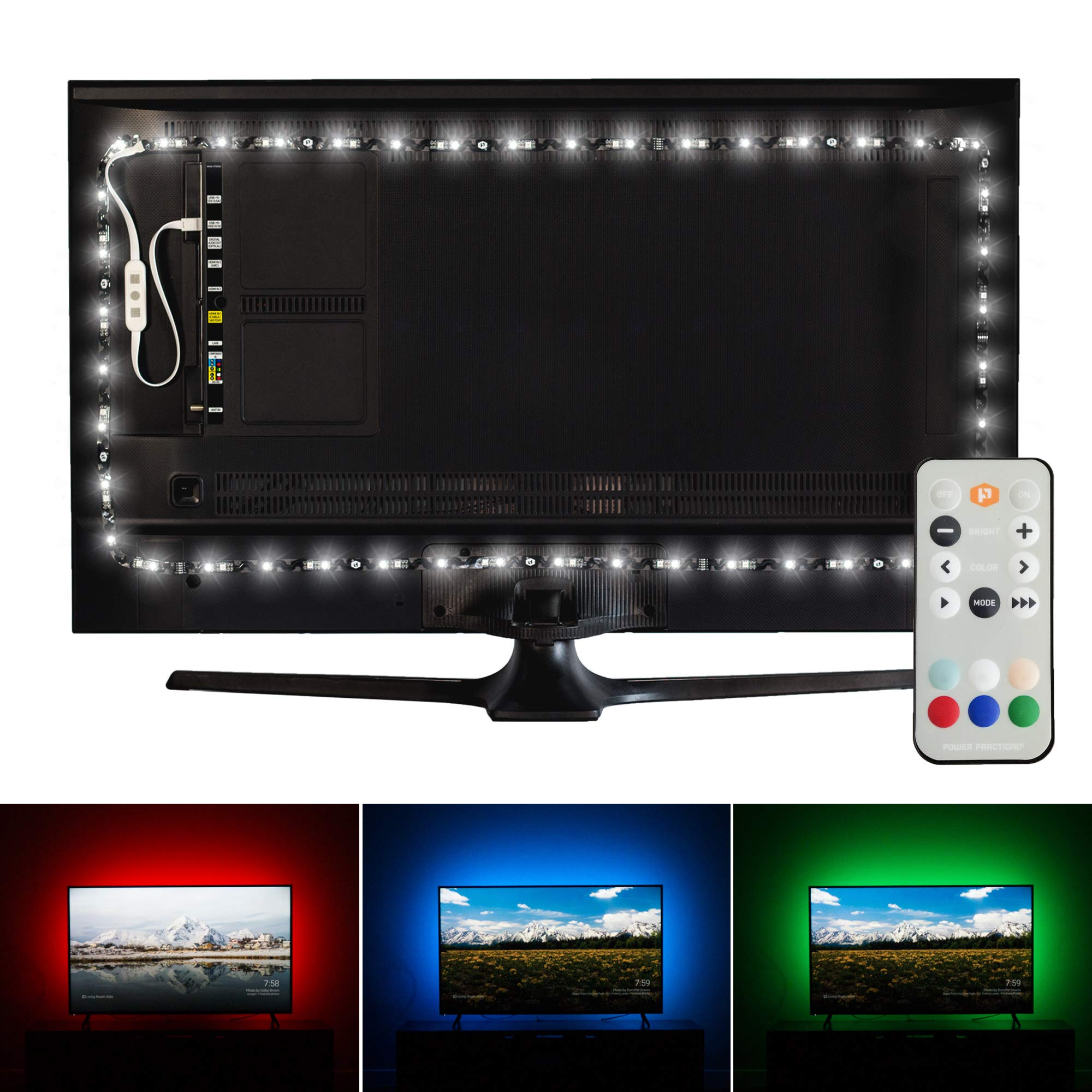 Luminoodle Professional Bias Lighting for HDTV, 15 Colors + 6500K True White LED TV Backlight, Adhesive RGB+W Strip Lights with Wireless Remote, Dimmer - Pro - XX-Large (60''-80'' TV)