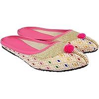 Mochdi Ethnic wear Back Open jutis for Women Pink Color Jaipuri jutis