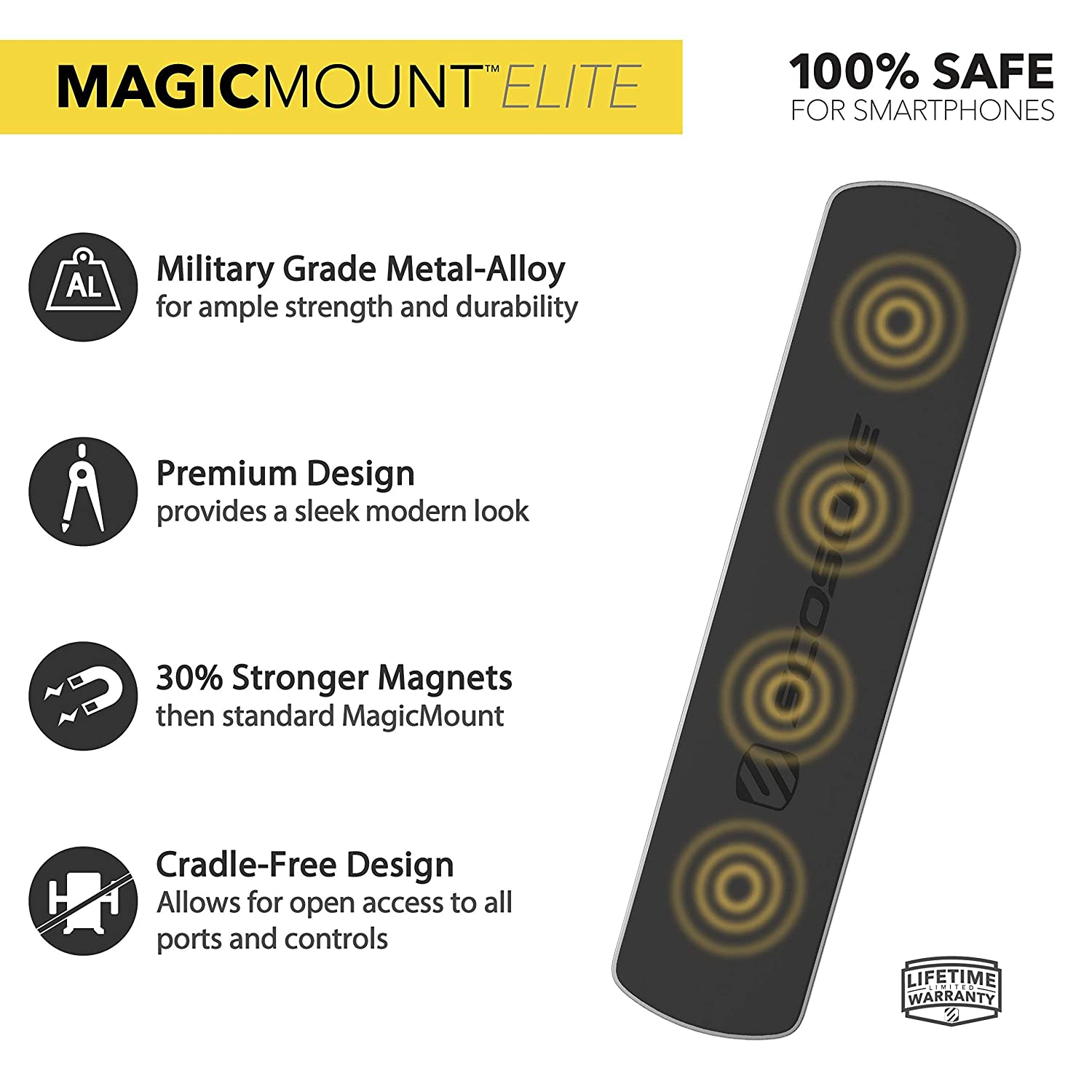 Office or Garage SCOSCHE MEBSG MagicMount Elite Double Sided Magnetic /& Adhesive Surface Mount Bar for use with Smartphones or Anything Metallic in The Car Home Space Gray
