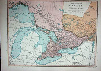 Quebec Karte.C1910 Karte Kanada Ontario Quebec Toronto Der Huronsee Amazon De