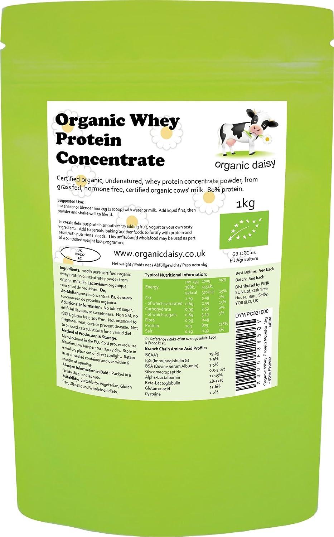 Proteina Organica Polvo 1kg de Suero de Leche Bio Whey Protein Concentrate Powder Organic Daisy 1000g: Amazon.es: Salud y cuidado personal