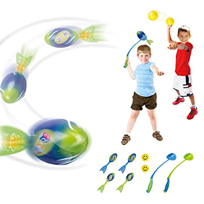 Play22 Foam Missile Football Launcher Set Of 8 Flying Toys - Includes 2 Launchers, 4 Soft Rocket Missile Balls & 2 Soft Balls - Ball Launcher For Kids Also Good For Dog Ball Launcher Great For Outdoor: Toys & Games