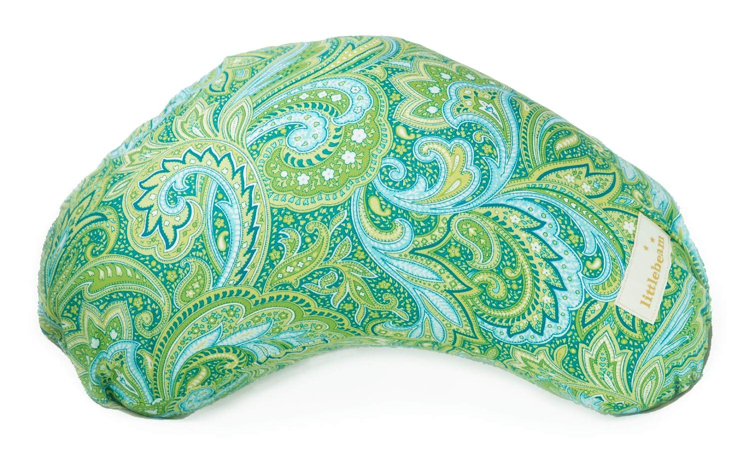 littlebeam Portable and Versatile Baby Bottle and Breastfeeding Nursing Support Pillow with Memory Foam ~ Green Paisley