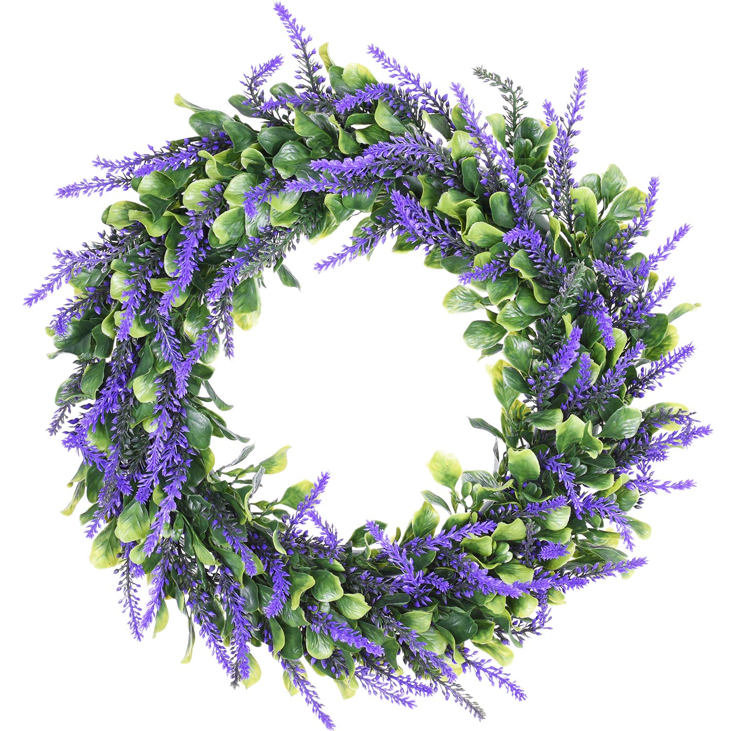 Lvydec Artificial Lavender Wreath, 15'' Green Leaves Boxwood Wreath with Lavender for The Front Door, Wall, Home Décor