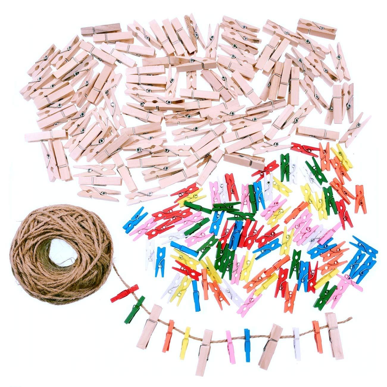 JZK 100 X Mini Pinzas de Foto de Madera Clips Corazon Rojo y 30m Cordel de Yute para Fiesta de Bodas Foto Titular de Tarjeta de decoración y Bricolaje Artesanal