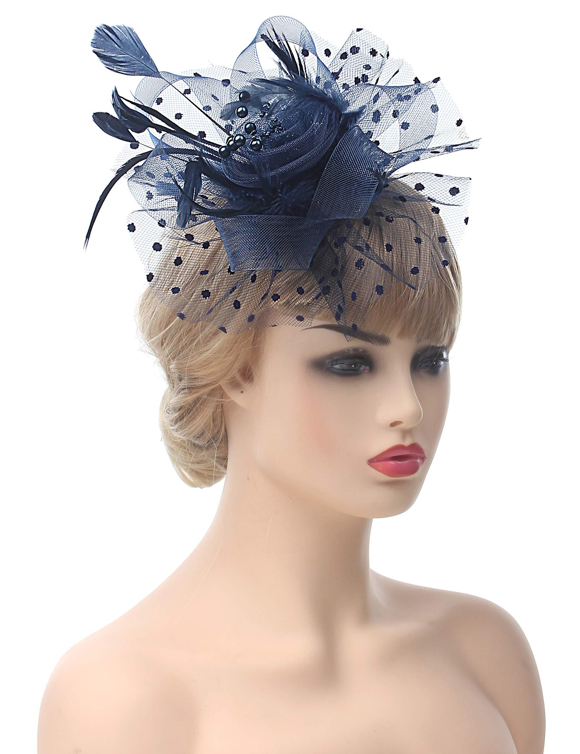 Myjoyday Fascinators Hat for Women Tea Party Headband Kentucky Derby Wedding Cocktail Flower Mesh Feathers Hair Clip (Navy Blue)