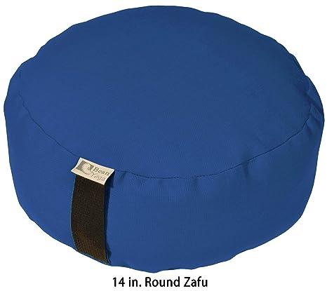 Bean Products Royal Blue - Round Zafu Meditation Cushion - Yoga - 10oz Cotton - Organic Buckwheat Fill - Made in USA