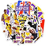 Realcome 24 Pcs Kobe Stickers Lakers Stickers Basketball Decals for Boys Vinyl Laptop Skateboard Computer Decor