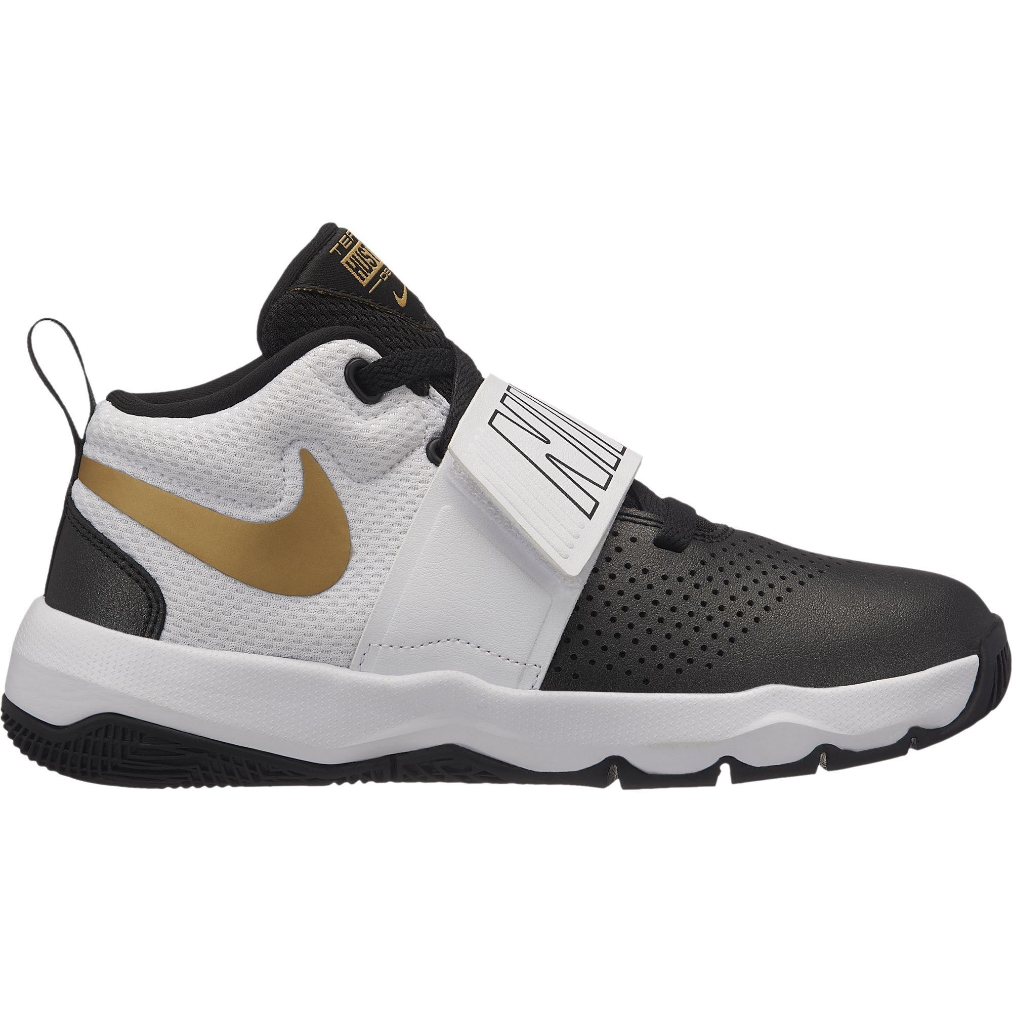 promo code a60bd c4a95 Galleon - Nike Boy s Team Hustle D 8 (GS) Basketball Shoe Black Metallic  Gold White Size 6.5 M US