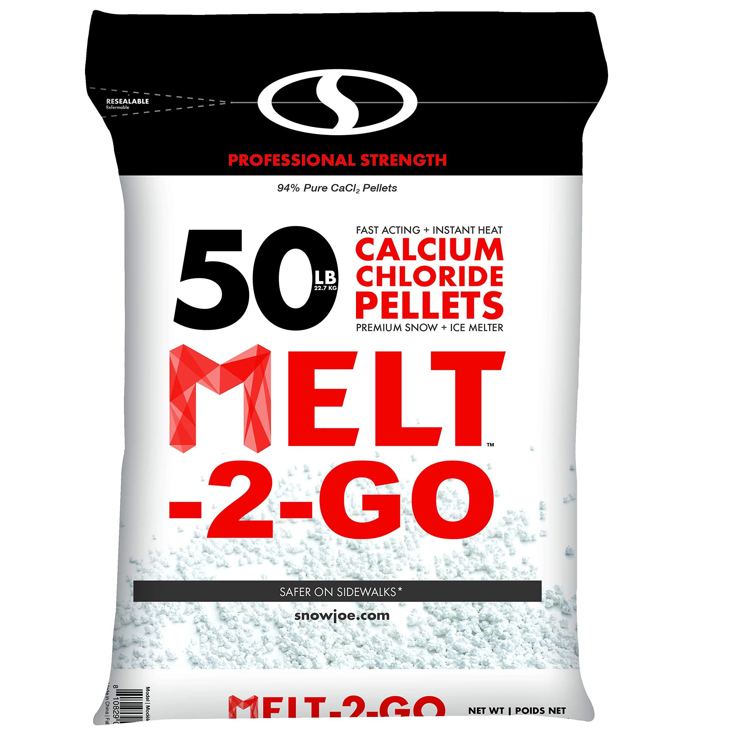 Snow Joe AZ-50-CCP Melt-2-Go 94% Pure Calcium Chloride Pellet Ice Melter, 50-lb Resealable Bag by Snow Joe