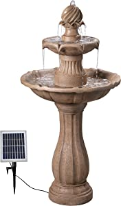 Kenroy Home Classic Outdoor Solar Floor Fountain ,44 Inch Height, 22 Inch Width, 22 Inch Ext. with Sandstone Finish