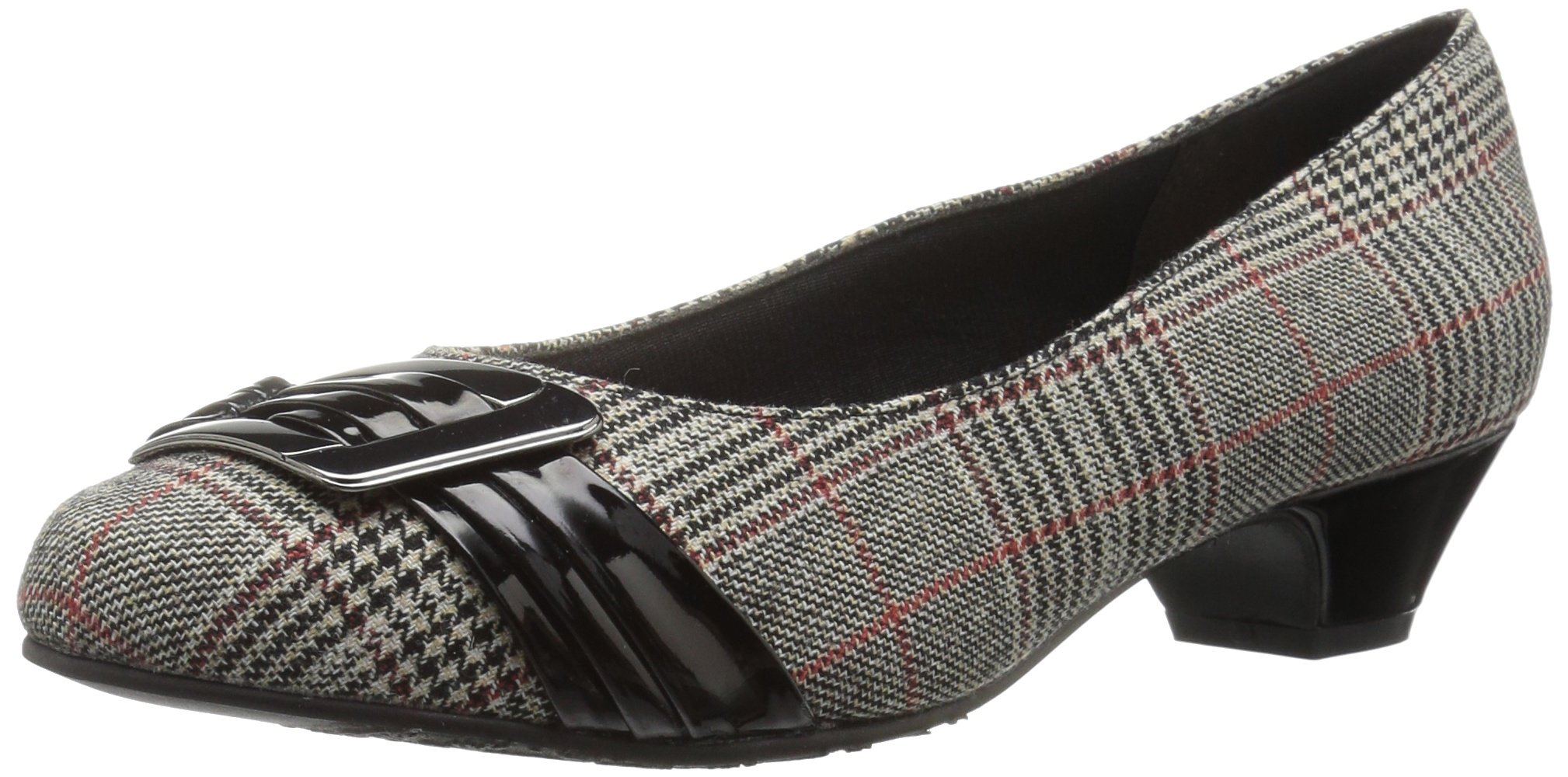 Soft Style by Hush Puppies Women's Pleats Be with You Dress Pump, Black Plaid/Black Patent, 8 M US