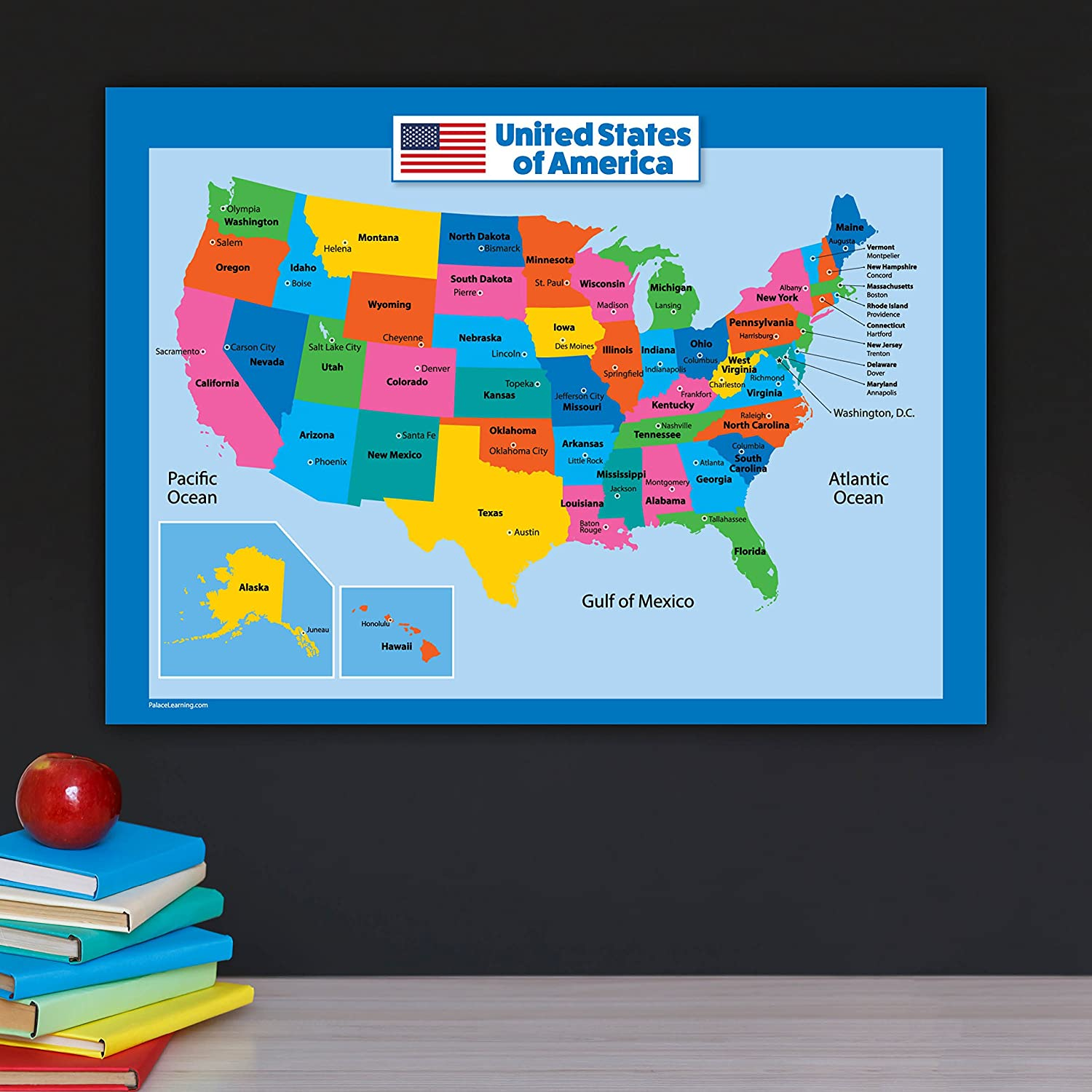 Amazon.com : USA Map for Kids - Laminated - United States Wall Chart ...