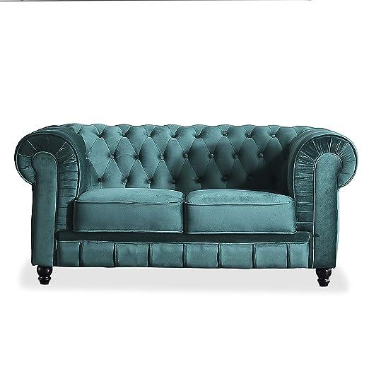 Adec - Chesterfield, Sofa de Dos plazas, Sillon Descanso 2 Personas Acabado en capitone Color Velvet Verde, Medidas: 166 cm (Ancho) x 84 cm (Fondo) 75 ...