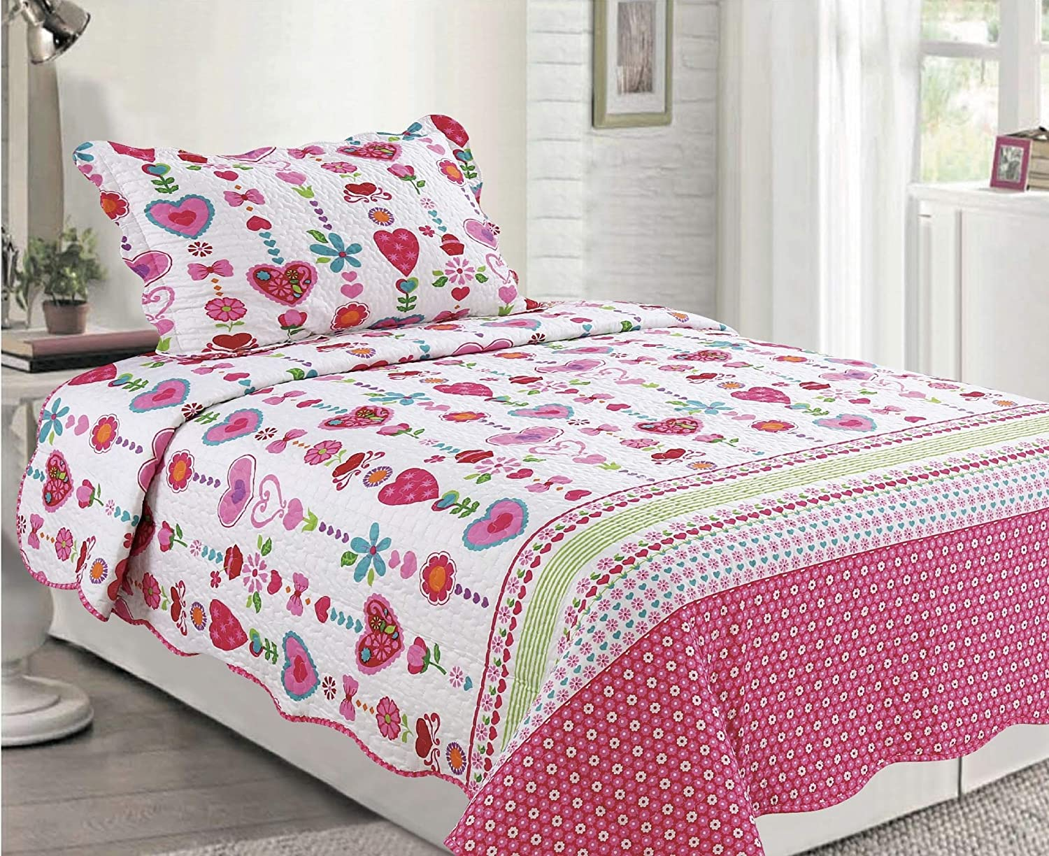 Elegant Home Decor Cute Girls Multicolor White Pink Green Blue Floral with Hearts Design 2 Piece Printed Coverlet Bedspread Quilt for Kids Teens/Girls Twin Size # 143
