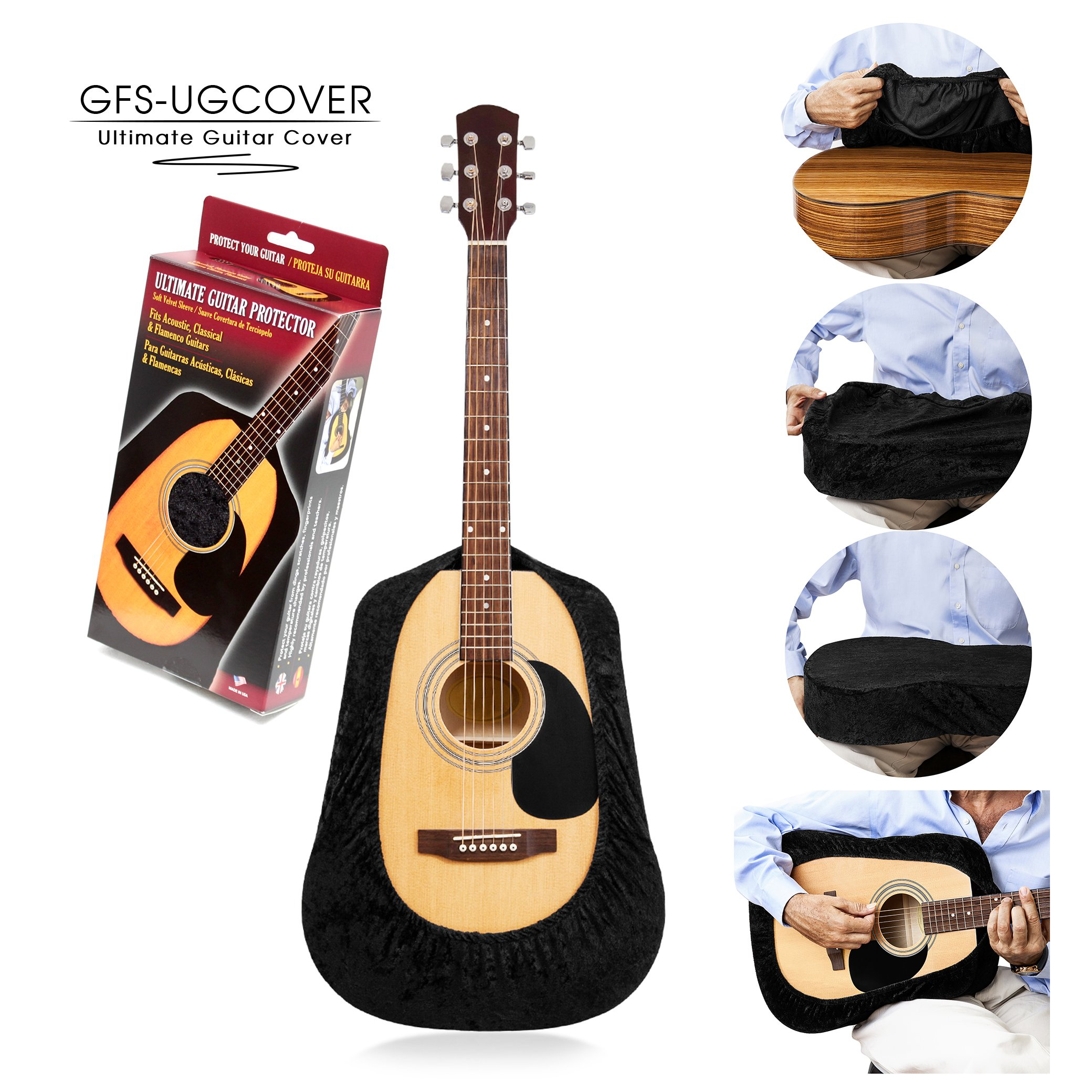 TENOR Ultimate Guitar Cover, Guitar Protector, Guitar Gig Bag, Protective Sleeve for Acoustic, Classical, Flamenco, Arch Top and Cutaway Guitars, Black Velvet Color. Tailor Hand Made.