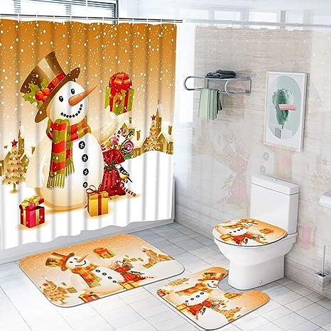 4Pcs Christmas Shower Curtain Bathroom Non-slip Carpet Rug Toilet Lid Cover