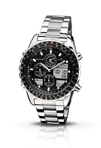 79f9d91c2 Accurist Men's Quartz Watch with Black Dial Chronograph Display and Silver  Stainless Steel Bracelet Mb775B.01: Amazon.co.uk: Watches