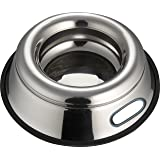Indipets Stainless Steel Spill Proof - Splash Free No Tip Anti Skid Dish with easy pick up grip handle