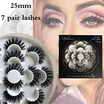 b09c3c7f45f Mikiwi 7 pair lashes, 25mm faux mink lashes, 3D faux mink lashes, faux