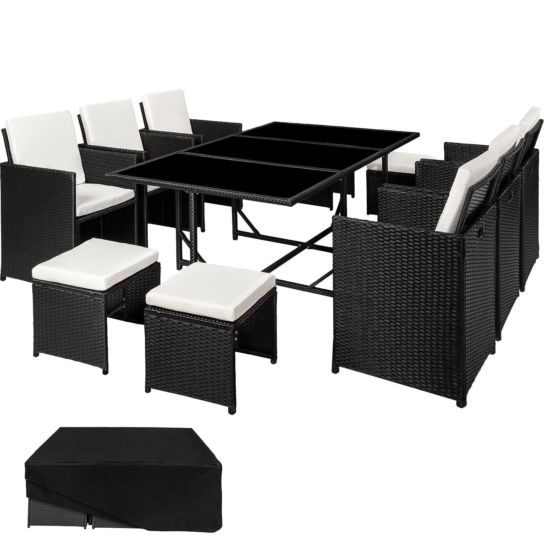 TecTake Conjunto muebles de jardín en ratán sintético | 1 Mesa + 6 Sillones + 4 Taburetes | Cubierta antilluvia | Tornillos de acero inoxidable | ...